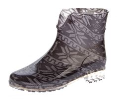 Damen Gummi Stiefeletten Boots Knöchel Schuhe Gummistiefel Schwarz gemustert Gr. 36 - 41 – Bild 1