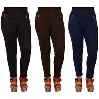 Damen Thermo Leggings Skinny Stretch Hose leicht glänzend gefüttert Gummizug Gr. M/L-XL/3XL – Bild 1