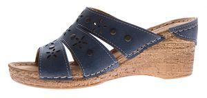 Damen Keil Pantoletten Clogs Leder Innensohle Schuhe Lochmuster Grau Blau Sandalen Wedges Gr. 36 - 41 – Bild 4