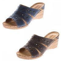 Damen Keil Pantoletten Clogs Leder Innensohle Schuhe Lochmuster Grau Blau Sandalen Wedges Gr. 36 - 41 – Bild 1