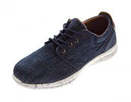 Herren Sneaker Jeans-Look Schuhe Schnürer Turnschuhe Halbschuhe Blau Stoffschuhe Gr. 41 - 46 – Bild 1