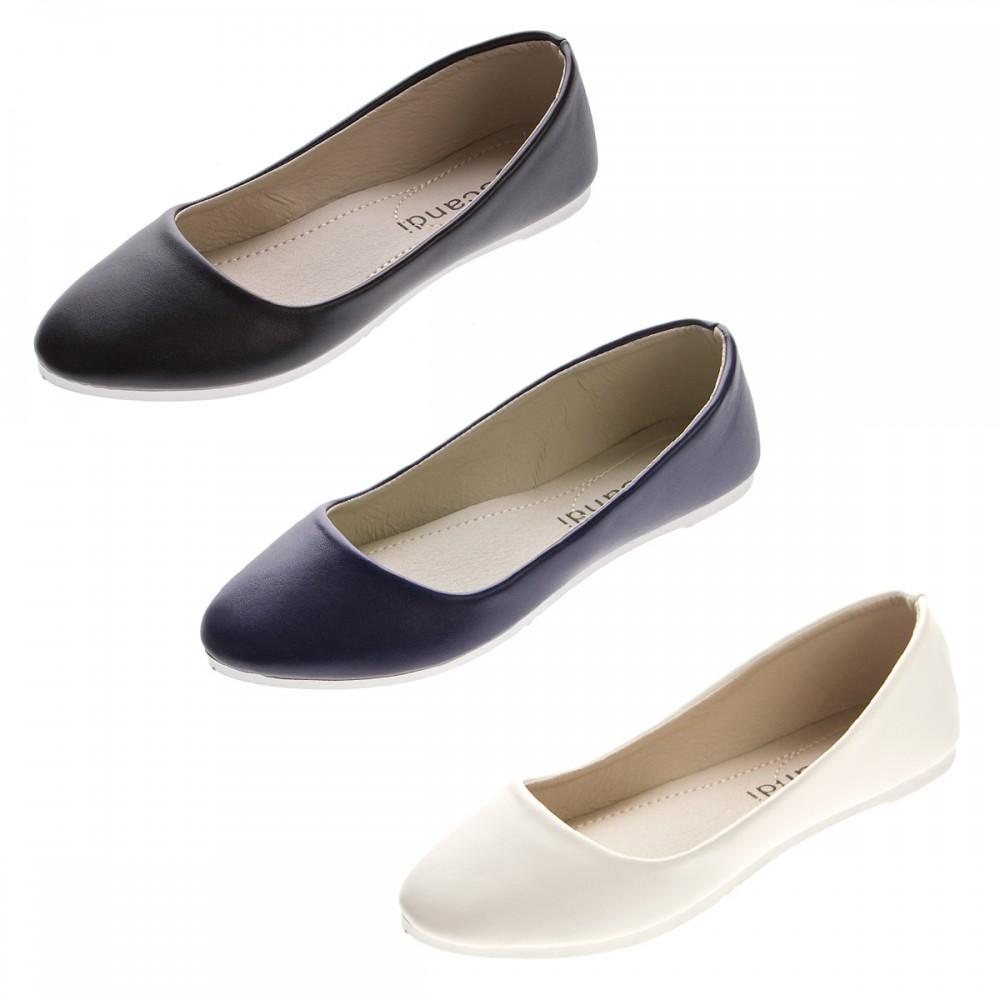 damen ballerinas kunst leder flach schuhe schwarz wei blau slipper sandalen gr 36 41 schuhe. Black Bedroom Furniture Sets. Home Design Ideas