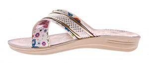 Damen Sandalette gekreuzte Bandagen Blumen Muster Pantolette Latschen Gr. 36-41 – Bild 10