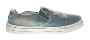 Damen Ballerinas Jeans-Look Halb Schuhe Blau Slipper flach Stoffschuhe Sneakers Gr. 36 - 41 – Bild 5