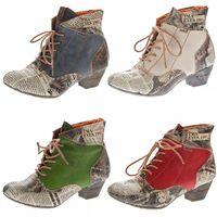 Damen Knöchel Schuhe echt Leder Stiefeletten Muster variieren Comfort Stiefel TMA 7616 Boots 36 - 42 – Bild 1