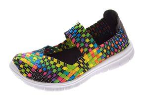 Damen Ballerinas geflochten Slipper flach Sneaker elastisch Halb Schuhe Bunt Sandalen Gr. 36 - 41 – Bild 1