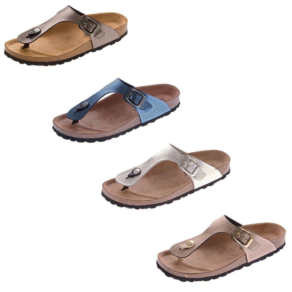 separation shoes 36c79 66876 Details zu Damen Bio Pantoletten Gemini Zehentrenner Leder-Kork-Fußbett  Schuhe Latschen