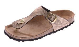 Damen Bio Pantoletten Gemini Zehentrenner Clogs Sandalen Leder-Kork-Fußbett Schuhe Latschen 36-43  – Bild 5