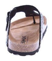 Damen Bio Pantoletten Gemini Zehentrenner Glitzer-Effekt Sandalen Leder-Kork-Fußett Schuhe Latschen 36-43  – Bild 12