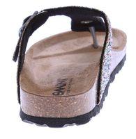 Damen Bio Pantoletten Gemini Zehentrenner Glitzer-Effekt Sandalen Leder-Kork-Fußett Schuhe Latschen 36-43  – Bild 6