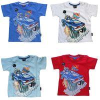 Jungen T-Shirt Kurzarm Sommer Kinder Shirt Monster Truck Spaß Motiv Knopfleiste Gr. 74-98