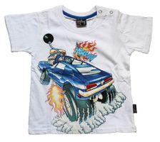 Jungen T-Shirt Kurzarm Sommer Kinder Shirt Monster Truck Spaß Motiv Knopfleiste Gr. 74-98 – Bild 3