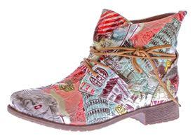 Damen Stiefeletten Mehrfarbig Sun & Shadow Kunst Leder Knöchel Schuhe Boots Allover Print Gr. 36-43 – Bild 2