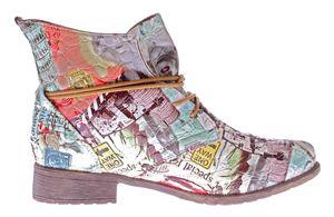 Damen Stiefeletten Mehrfarbig Sun & Shadow Kunst Leder Knöchel Schuhe Boots Allover Print Gr. 36-43 – Bild 5