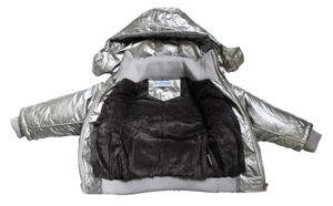 Kinder Winter Jacke Jungen Mädchen Metallic-Effekt glänzend Kapuze gefüttert Gr. 92 - 110 – Bild 5