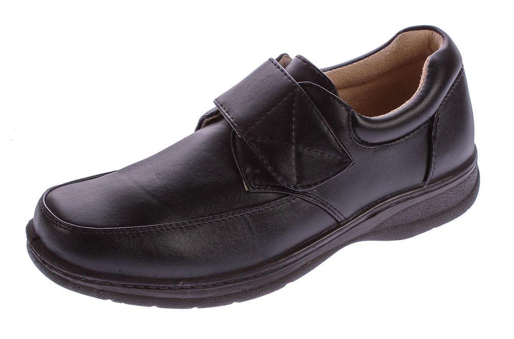 8d56f6ea29ede Herren Business Slipper Anzug Schuhe Klettverschluss Kunst Leder Halbschuhe  Gr. 40 - 46