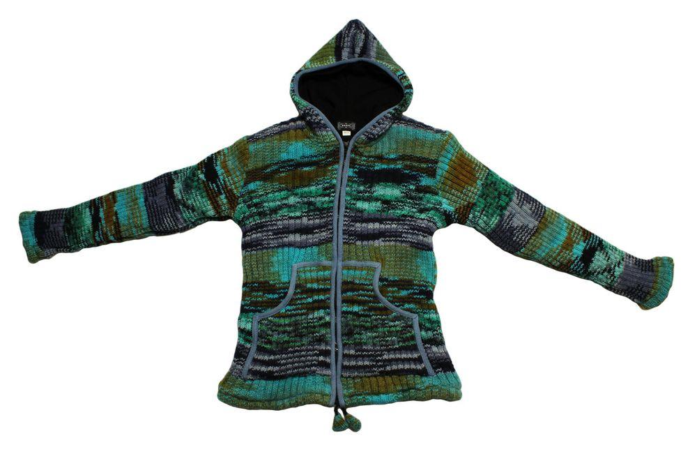new style f92c5 aa497 Damen Mantel Bäres handgewebte echte Nepal Wolle Zipfel Strick Jacke Kapuze  Einzelstück Gr. L-XL