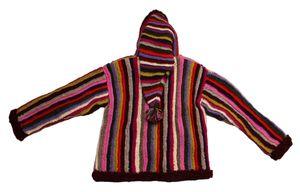 Damen Mantel Bäres handgewebte echte Nepal Wolle Bommel Zipfel Strick Jacke Kapuze Einzelstück Gr.  L-XL – Bild 4