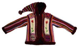Damen Mantel Bäres handgewebte echte Nepal Wolle Bommel Zipfel Strick Jacke Kapuze Einzelstück Gr.  L-XL – Bild 1