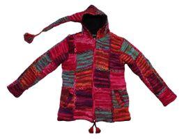Damen Mantel Bäres Bommel Zipfel Strick Jacke Kapuze handgewebte echte Nepal Wolle Einzelstück Gr.  L-XL – Bild 2