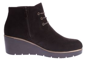 Damen Knöchel Schuhe Keil Absatz Stiefeletten Wedges Velours Leder Optik Gr. 36-41 – Bild 4