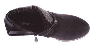 Damen Knöchel Schuhe Keil Absatz Stiefeletten Wedges Velours Leder Optik Gr. 36-41 – Bild 6