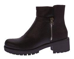 Damen Stiefeletten Knöchel Schuhe Block Absatz Kunst Leder Boots Tiermuster Prägung Gr. 36 - 41 – Bild 3