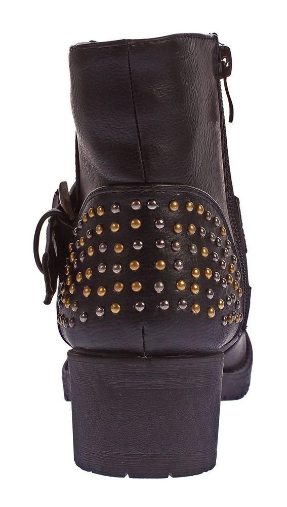 Damen Stiefeletten Block Absatz Kunst Leder Boots Nieten Knöchel Schuhe 36-41