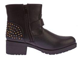 Damen Stiefeletten Block Absatz Kunst Leder Boots Nieten Knöchel Schuhe Kaltfutter Gr. 36 - 41 – Bild 4