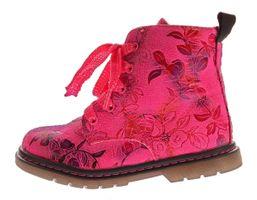 Kinder Boots leicht gefüttert Mädchen Knöchel Schuhe Stiefel Blumen Muster Reißverschluss Gr. 20-31 – Bild 4