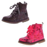 Kinder Boots leicht gefüttert Mädchen Knöchel Schuhe Stiefel Blumen Muster Reißverschluss Gr. 26-31