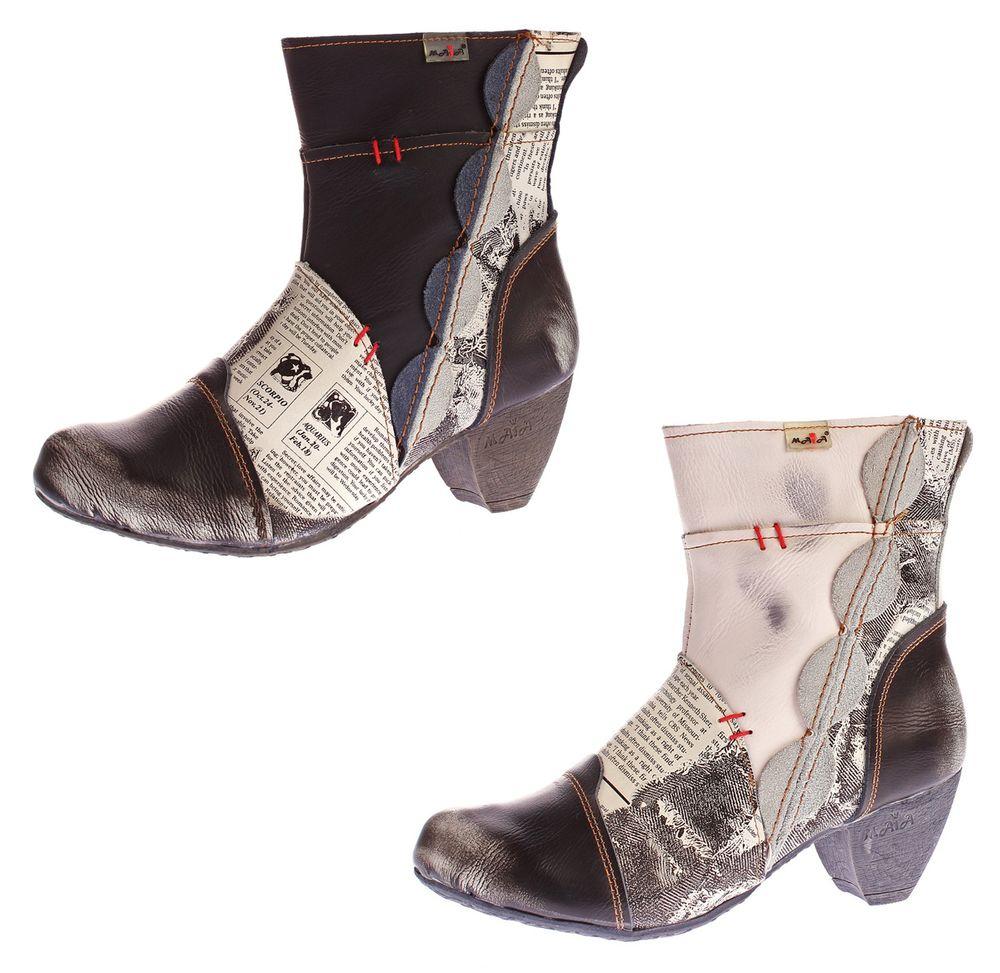 1cb5dad9040996 Damen Stiefeletten TMA 8911 echt Leder Stiefel Muster variieren Comfort  Schuhe