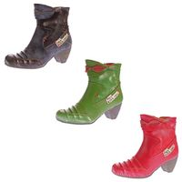 Damen Stiefeletten TMA 8909 echt Leder Stiefel Comfort Schuhe Boots Ziernähte Gr. 36-42