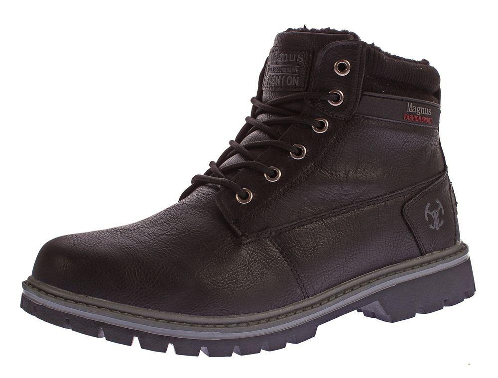 homme bottes d 39 hiver similicuir cheville chaussures lacets doublure chaude ebay. Black Bedroom Furniture Sets. Home Design Ideas