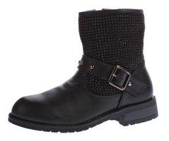 Kinder Stiefeletten Mädchen Winter Schuhe warm gefüttert Kunst Leder Boots Strasssteine Gr. 31 - 36