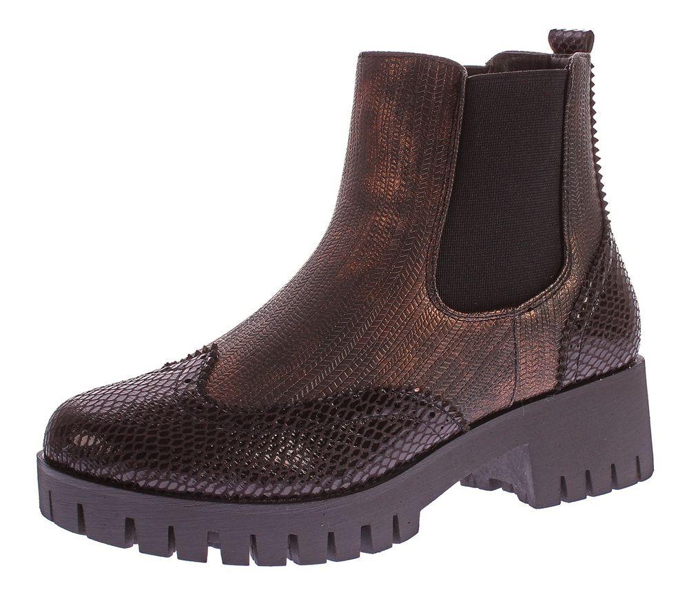 Damen Stiefeletten Block Absatz Metallic Look Boots Knöchel Schuhe Reptil Optik Gummizug Gr. 36 41