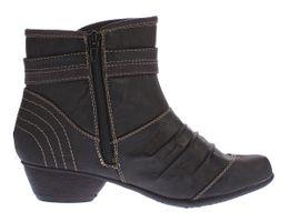 Damen Stiefeletten Kunst Leder Boots Knöchel Schuhe Kaltfutter Trichter Absatz Ziernähte Gr. 36 - 41 – Bild 4