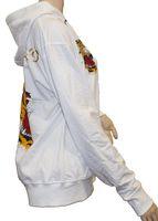 Damen Sweat Jacke Tiger Tattoo Motiv Schriftzug Glitzer Steine Zip Hoodie Kapuze Gr. M-XXL – Bild 6