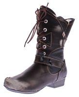 TMA Damen Winter Stiefel TMA 8166 echt Leder Schuhe gefüttert Comfort Boots Animal Print Gr. 36-42 – Bild 2