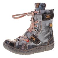 Damen Leder Winter Comfort Stiefeletten Reptil Print gefüttert echt Leder Schuhe TMA 7087