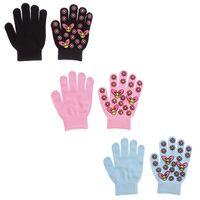 Kinder Handschuhe Blumen Motiv Fünf Finger Handschuhe Mädchen Herbst Winter Gr. 5,5 (M)