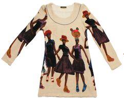 Damen Long Shirt figurbetont Afrika Motiv Tunika knielang langarm Gr. S/M-L/XL