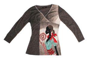 Damen Longsleeves Motiv Perlen mehrfarbig Pullover V-Ausschnitt Long Shirt figurbetont Gr. L/XL – Bild 3