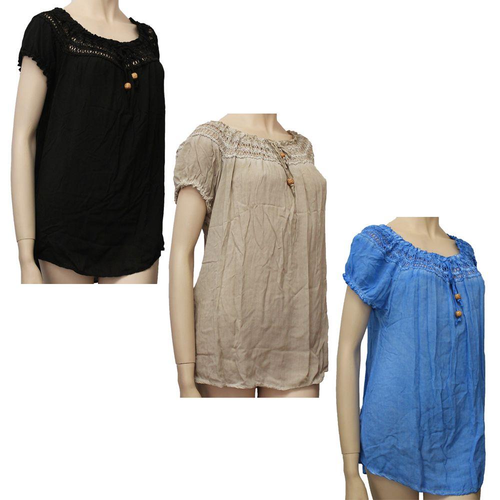 damen longshirt h kel optik bluse kurzarm t shirt. Black Bedroom Furniture Sets. Home Design Ideas