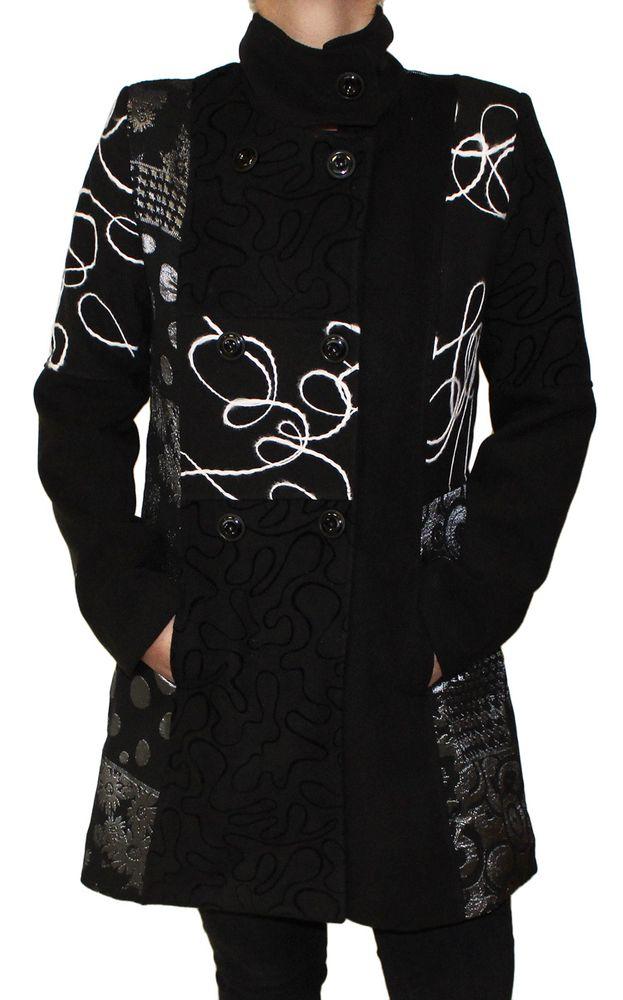 release date 47c30 eb86a Damen Herbst Winter Mantel Wolle Jacke Knopfleiste Muster variieren Made in  Italy Gr. S - 6XL