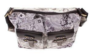 Handtasche Damen Sun & Shadow Umhängetasche Black Offwhite Schultergurt  – Bild 4