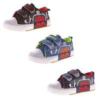 Kinder Leinen Schuhe Jungen Mädchen Halbschuhe Klett Hausschuhe Kita Stoff Jeans Optik Gr. 25 - 30 – Bild 1