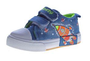 Kinder Leinen Schuhe Jeans Optik Hausschuhe Kita Klett Mädchen Jungen Halbschuhe Stoff 22-26 – Bild 3