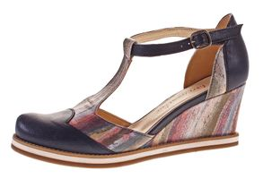 Damen Spangenpumps libre comme l'air echt Leder Keil Absatz Wedges Riemchen Pumps bunt Gr. 38 - 41