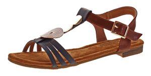 Damen Sandalen Sun & Shadow flach Schuhe Fessel Riemchen Sandaletten Applikation Gr. 38-43 – Bild 2